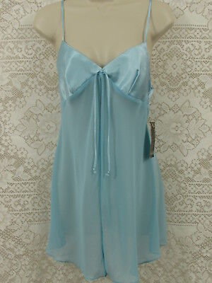NWT Isabel Intimates 2 Piece Blue Babydoll Shorty Gown String Bikini Panties Med
