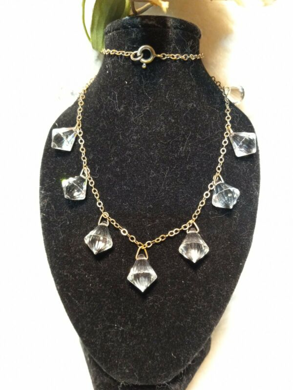 Antique Art Deco Crystal Necklace Bead Choker Czech Faceted Prism Drop