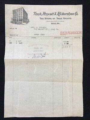 "1922 TRASK, PRESCOT & RICHARDSON CO. ERIC PA. ""HAT""  SALES RECEIPT!  RARE! RARE!"