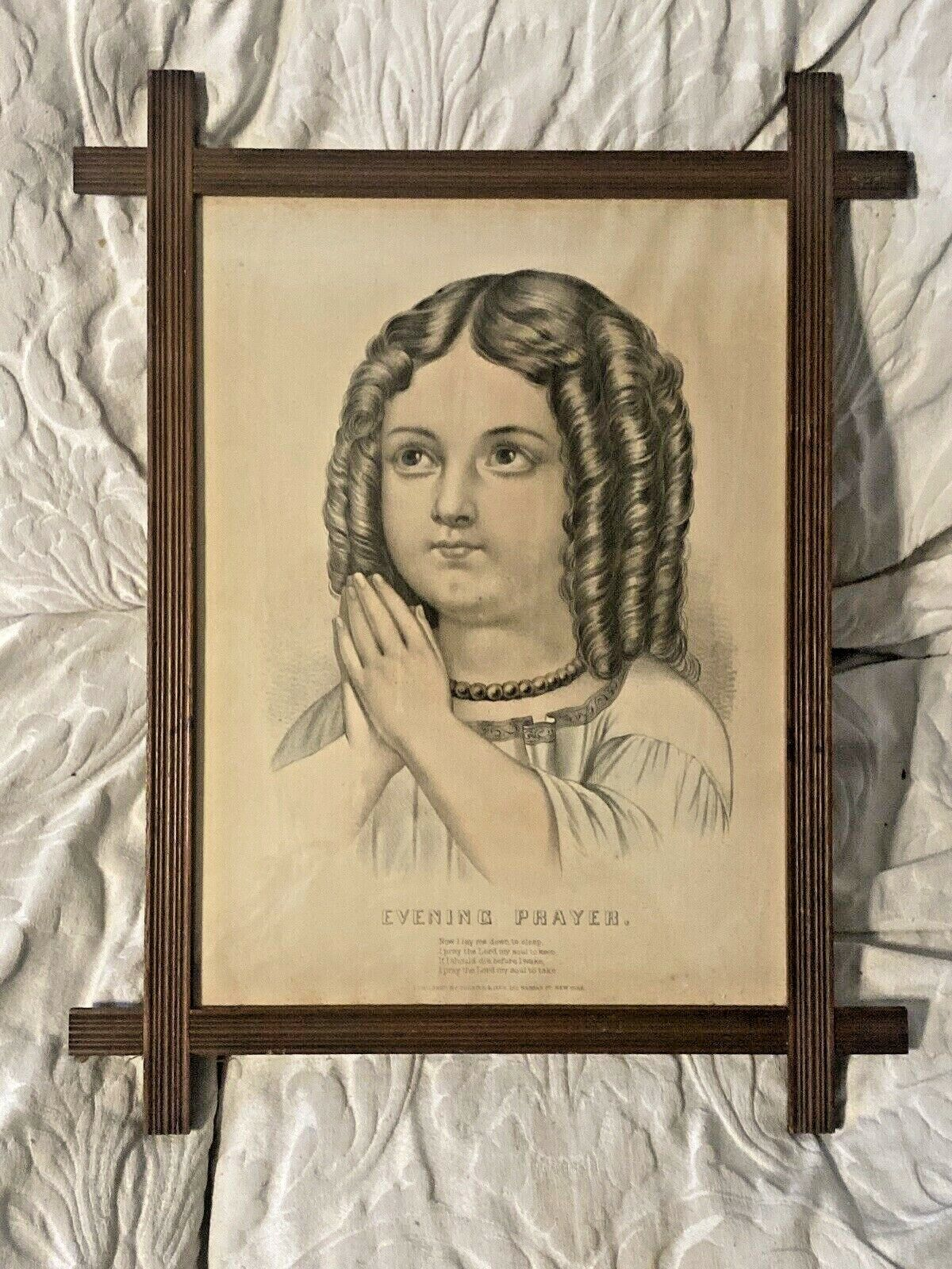 Evening Prayer Currier Ives 1870s Victorian Childrens Print Little Girl Framed - $49.00