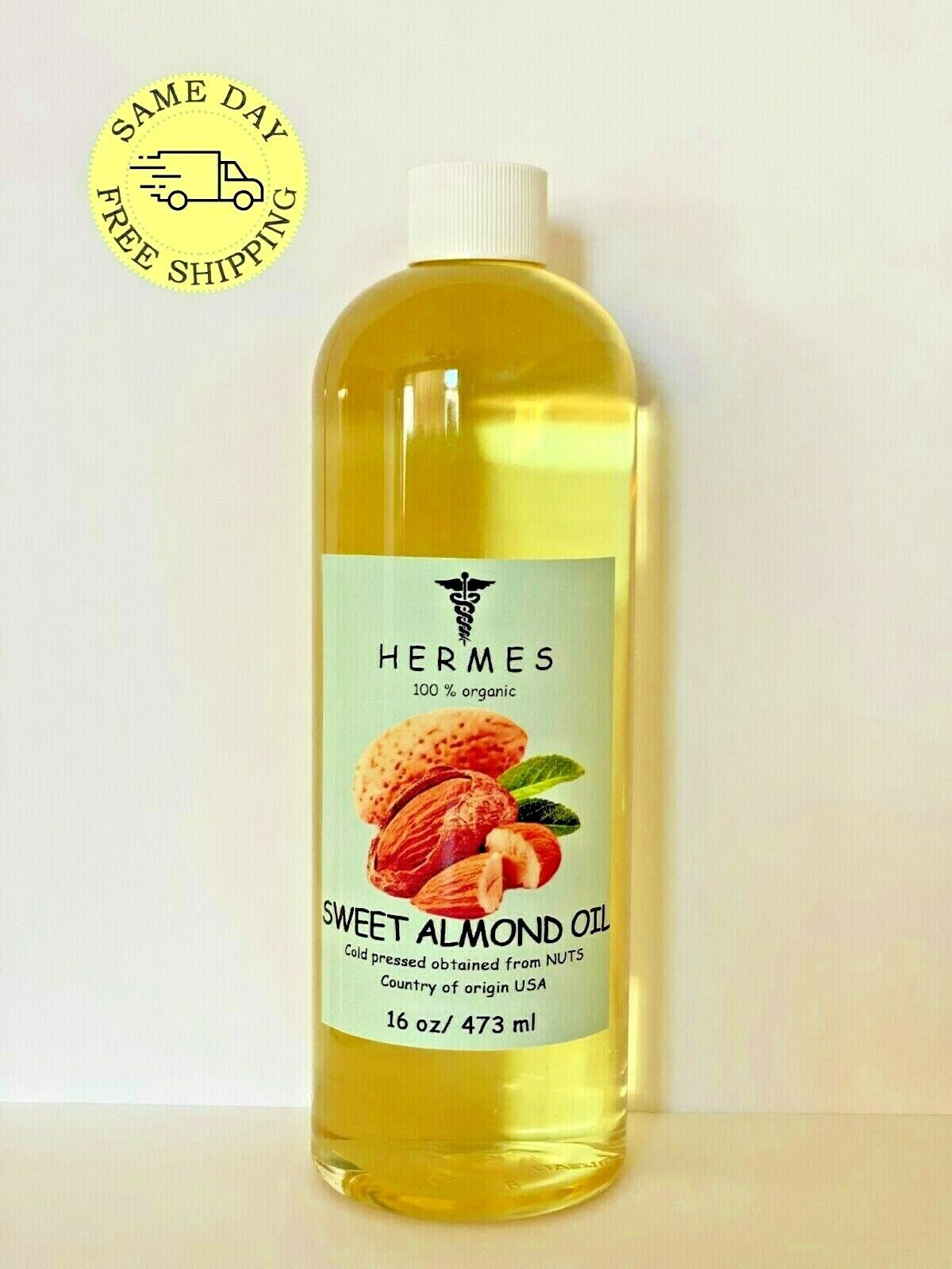 SWEET ALMOND OIL by HERMES ORGANIC COLD PRESSED 16 oz
