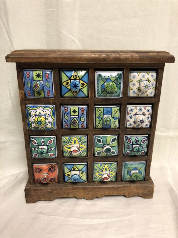 VINTAGE WOOD & CERAMIC SPICE RACK CABINET APOTHECARY BOX Bright Colors  - Heavy
