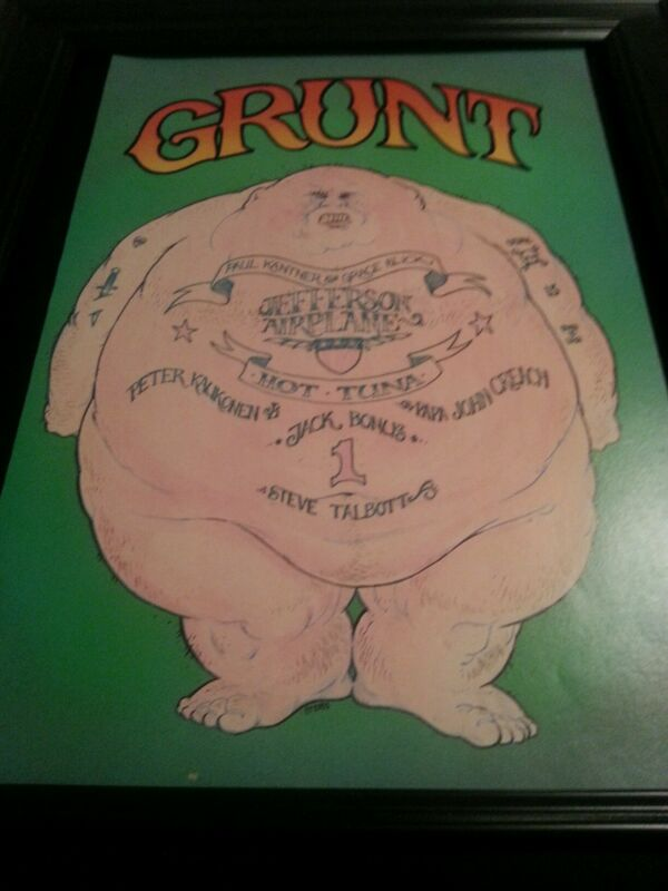 Grunt Records Jefferson Airplane Hot Tuna Rare Label Promo Poster Ad Framed!