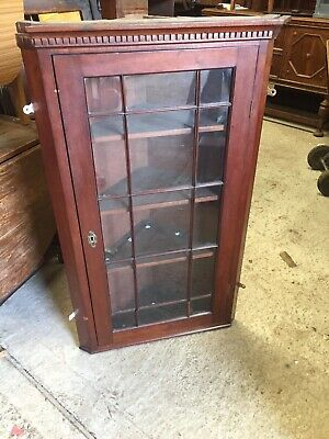 Old Plank Back Corner Display Cabinet Cupboard Wall Mount For Restoration 4/11/K
