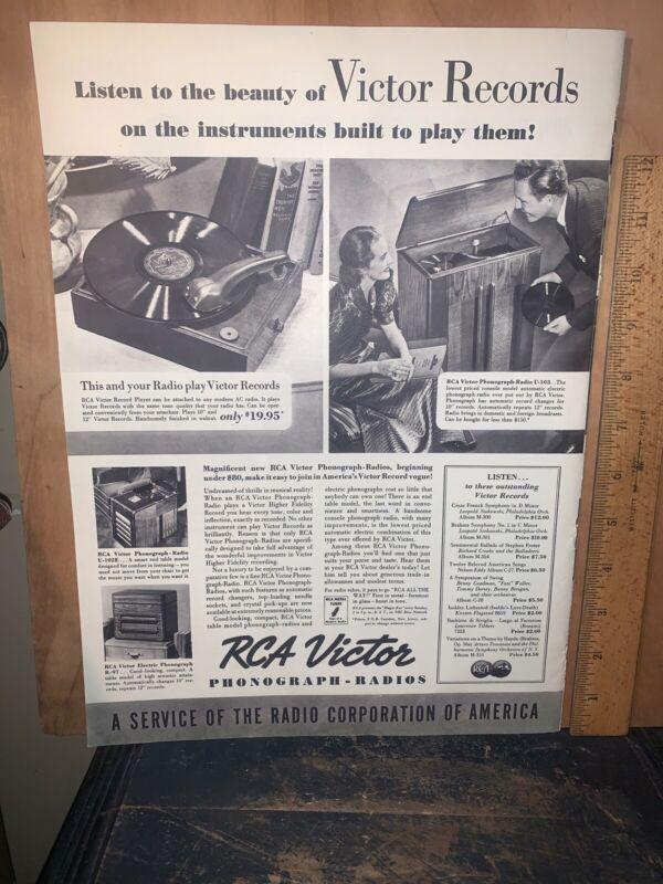Rca Victor Phonograph-Radios Print Ad Vintage.