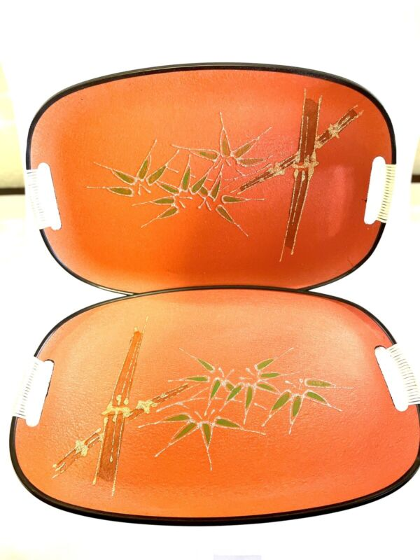 Vintage MCM Two Serving Trays Hand Painted Bamboo Orange Japan