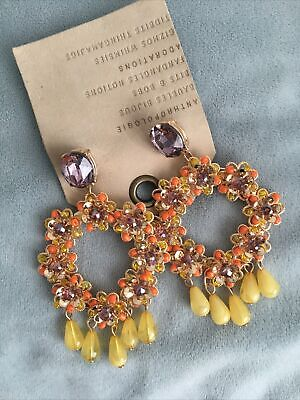 ANTHROPOLOGIE Beaded Stones Chandelier Earrings Yellow Gold Orange NEW Fiesta