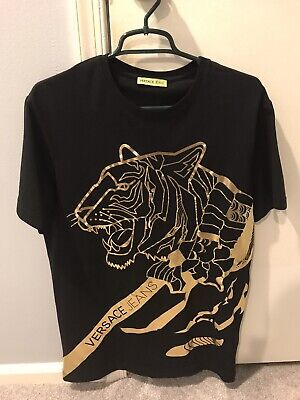 Versace Jeans Men's Gold Foil T-Shirt, Black Slim Fit Tee Large