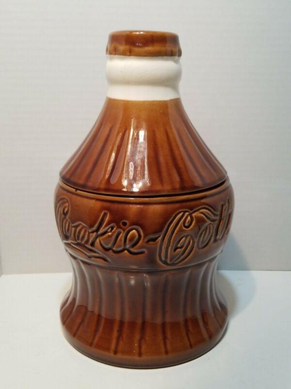 """Rare Coca Cola Bottle Vintage Cookie Jar 11 3/4"""" tall COOCKIE COLA."""