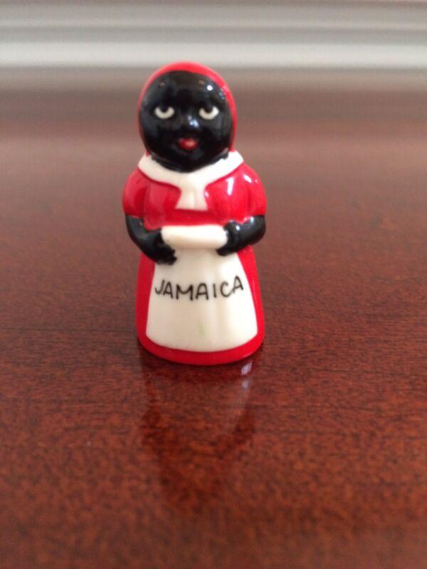 "Vintage Miniature Black African American Woman Figurine Jamaica 1.5"""