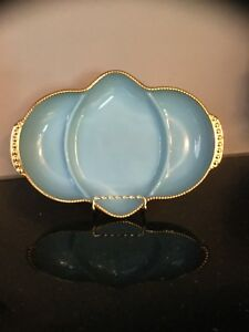 FIRE KING OVEN WARE BLUE MILK GLASS DIVIDED DISH GOLD TRIM