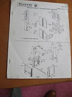Walker Turner 16in. Variable Speed Band Saw Assemblyparts Manual Instructions