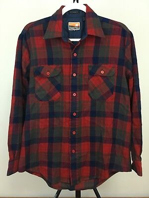 Buffalo Plaid Flannel - Vtg Men's Flannel Red Blue Black Buffalo Plaid Shirt size Medium Acrylic Vintage