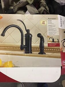 Bronze finish kitchen faucet