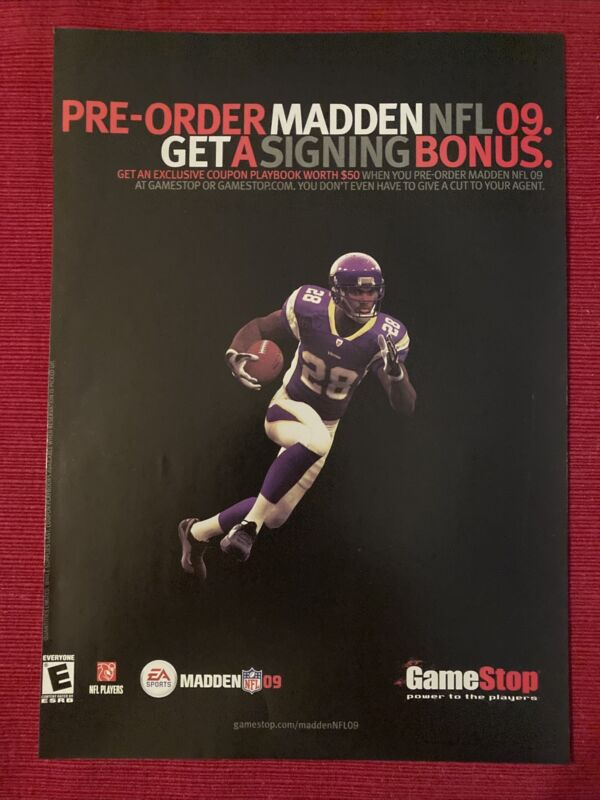 Madden NFL 2009 Adrian Peterson Vikings Ad/Poster Promo Art Ad