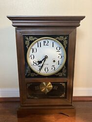 "VINTAGE WALL MECHANICAL CLOCK REGULATOR 31-DAY CHIMING 19"" TALL"