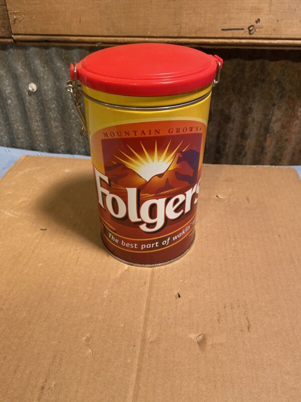 "Folgers 8"" Coffee Tin with hinged lid"