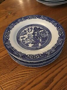 Blue Willow dinnerware. 6 each plates, bowls, side plates