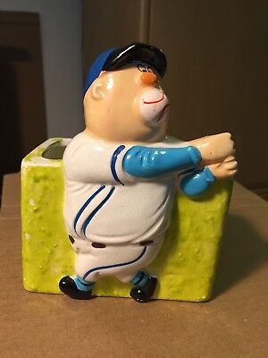 Ceramic Baseball In Mouth Planter/Trinket Box EXCELLENT Condition