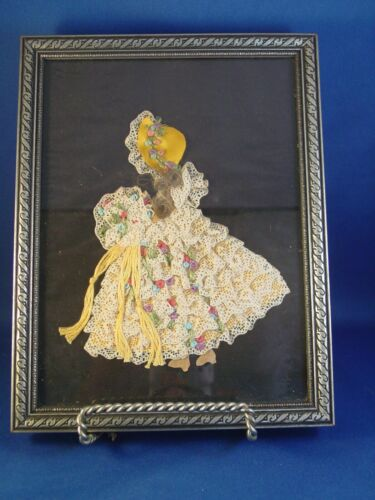 Victorian Mourning Hair w/ Lace & Ribbon Framed Art Image of a Lady