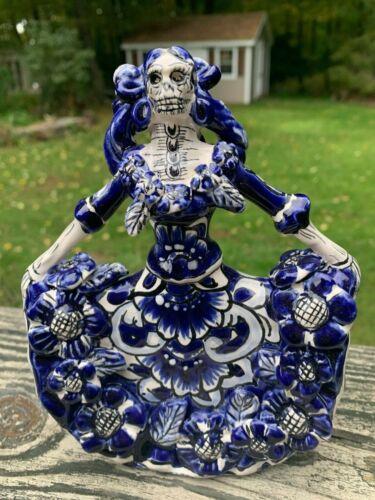 La Bailarina Catrina Dancer Talavera Painted Statue Mexican 7x5x2.5 Blue R5