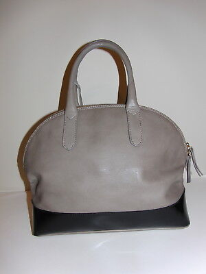 NEW INNUE TAUPE BLACK TWO TONE LEATHER SATCHEL HANBAG MADE IN ITALY