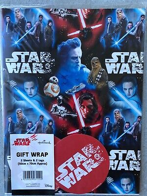 STAR WARS WRAPPING PAPER by HALLMARK 2 GIFT WRAP& 2 TAGS PACK - BIRTHDAY  6990
