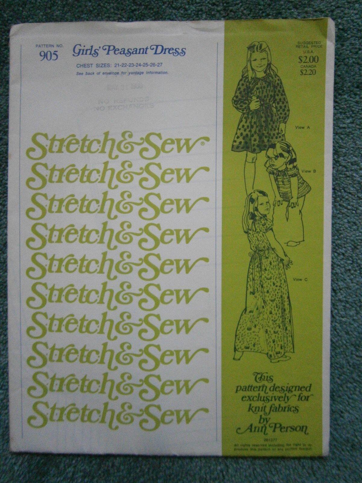 Girls Peasant Dress Pattern Stretch Sew 905 From 1980 Uncut - $5.45