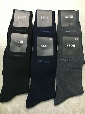 6 Pairs HUGO BOSS MEN SOCKS BLACK/NAVY/GREY US Size 7-9