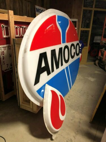 HUGE Vintage ORIGINAL Large AMOCO Sign  with FLAME Top Advertising Gas Oil WOW!