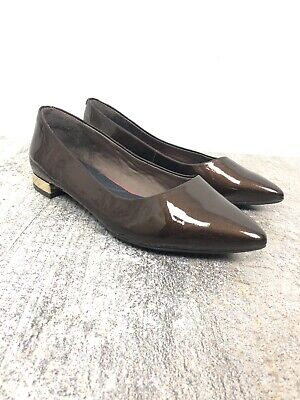Rockport Brown Flats 5 M Adelyn Ballet Pointed Toe Shoes Patent Gold Tone (Pointed Tone)