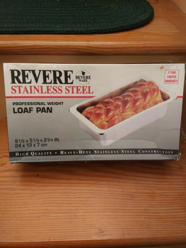 """Vintage REVERE WARE Stainless Steel LOAF PAN~ NEW 9.5""""X5.25""""X2.75"""""""