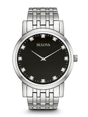 Bulova Men's Diamond Accents Quartz Black Dial Bracelet 38mm Watch 96D106