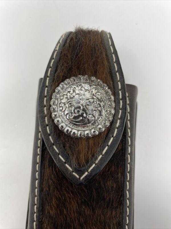 Western Leather Fur Clip Phone/ Misc Holder Cowboy Case