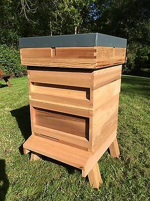 National Beehive in cedar with stand Including 2 supers & framed Q-excluder
