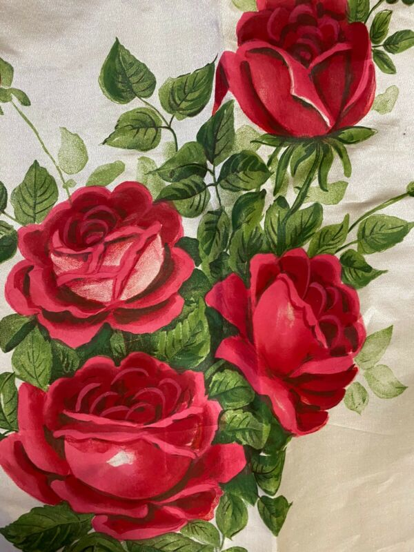 Beautiful Antique Silk 1900's Textile Pillow Front Hand Painted Lush Red Roses