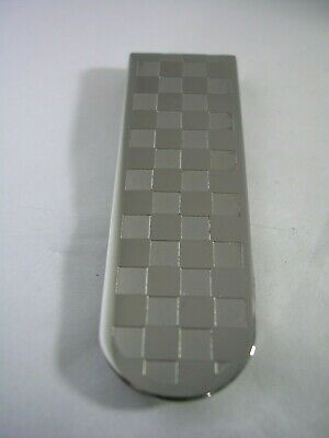 MONEY CLIP WITH A CHECKER BOARD PATTERN IN STAINLESS STEEL HIGH POLISHED