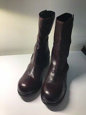 Alexandre Plokhov Men's Brown Leather Zip Up Boots Made In Italy 11.5 Pre-Owned