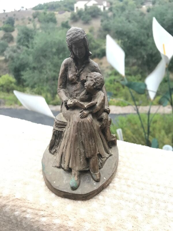1976 Bronze Mother Reading To Child & Mother Holding Child 1976 Doreen Kern MINT