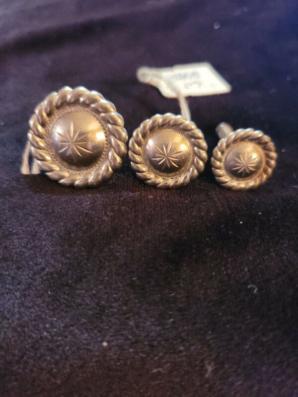 Saddle screw in Conchos set 3 pc  floral rope 5/8 to 1 in. Fargo silver
