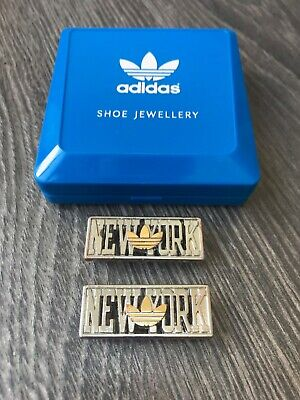"Adidas ""NEW YORK"" Shoe Jewellery Lace Locks With Box - Rare!"