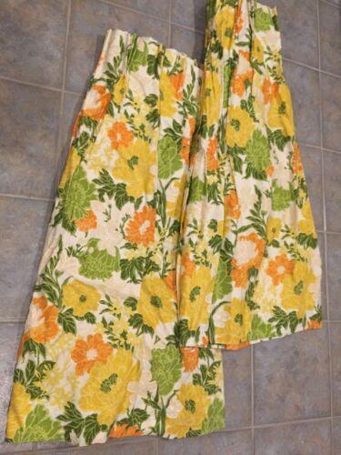 MId Century Drapes Curtains Fabric Yellow Orange Green