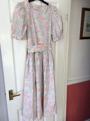 Vintage Laura Ashley Pastel Floral Dress Suze 10