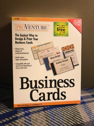 Factory Sealed - Easy To Use - Pro Venture Business Cards Software - Windows