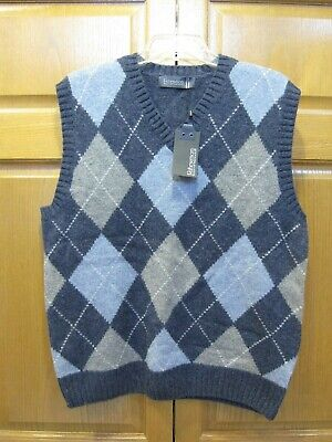 Men's Size XL Blue Argyle Print Lambswool Sweater Vest - Fisherman Ireland NWT!