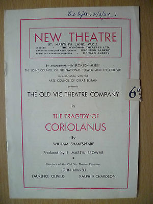 New Theatre Programme 1948- THE TRAGEDY OF CORIOLANUS by William Shakespeare