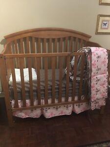 Mahogany crib converts to double bed