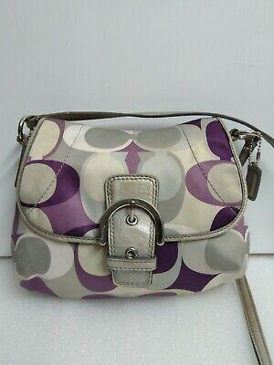 Coach Purple/Ivory/Grey Satin Small Crossbody Shoulder Bag Flap/Buckle Purse Ivory Satin Purse