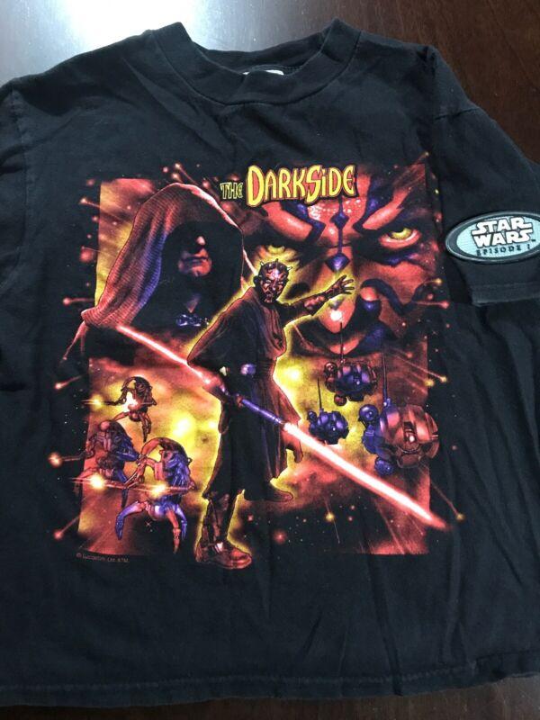 Vintage Star Wars Episode 1 The Darkside Darth Youth T-Shirt Sz M Medium