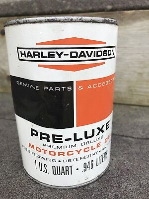 Vintage HARLEY DAVIDSON Qt Metal Oil Can FULL Pre Luxe Oil Premium Deluxe